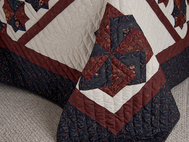 Queen Navy Burgundy and Tan Star Spin Quilt Photo 7