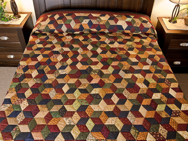 Navy and Burgundy and Multicolor Tumbling Blocks Quilt Photo 1