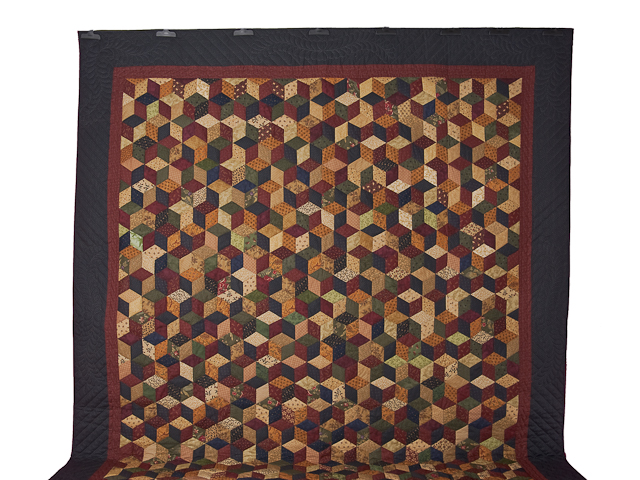 Navy and Burgundy and Multicolor Tumbling Blocks Quilt Photo 2