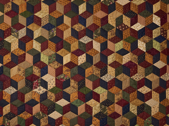 Navy and Burgundy and Multicolor Tumbling Blocks Quilt Photo 3