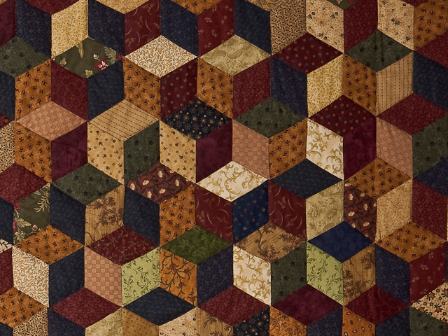 Navy and Burgundy and Multicolor Tumbling Blocks Quilt Photo 4