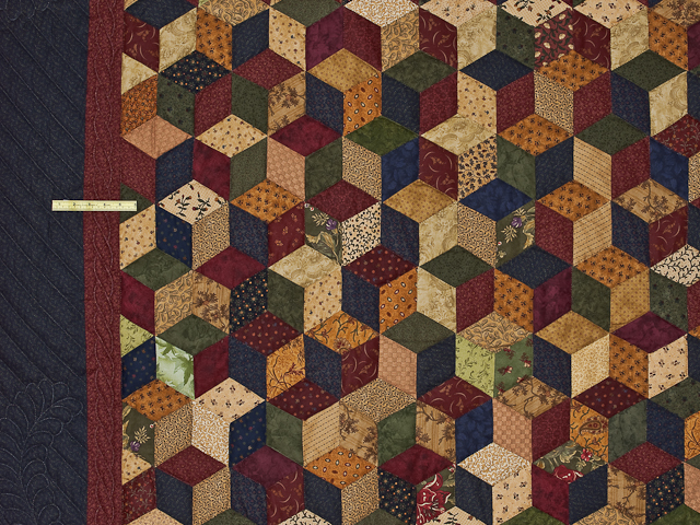 Navy and Burgundy and Multicolor Tumbling Blocks Quilt Photo 5