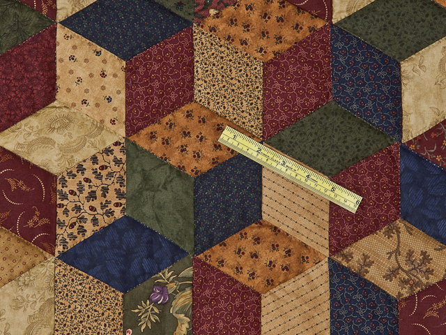 Navy and Burgundy and Multicolor Tumbling Blocks Quilt Photo 6