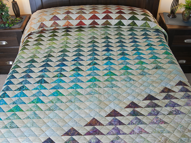 Hand Painted Rainbow Pyramid Quilt King Photo 1