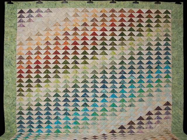 Hand Painted Rainbow Pyramid Quilt King Photo 2