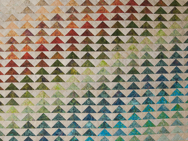 Hand Painted Rainbow Pyramid Quilt King Photo 3