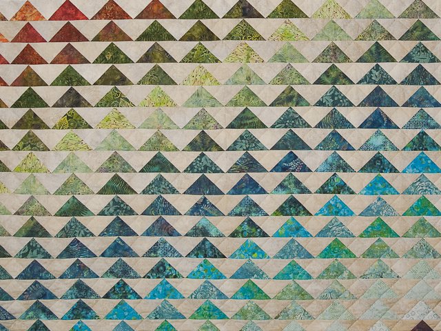 Hand Painted Rainbow Pyramid Quilt King Photo 4