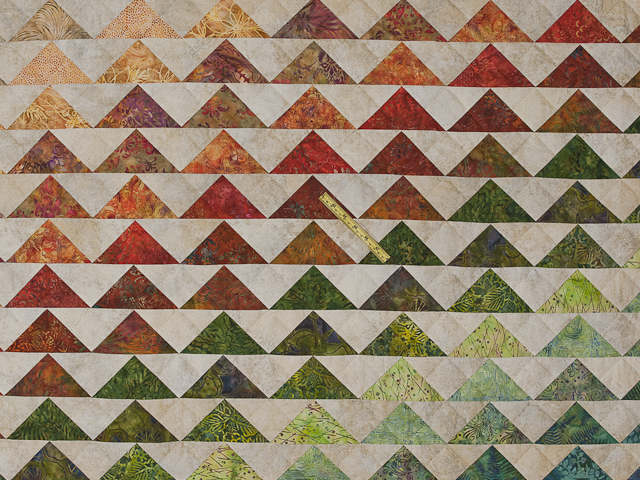 Hand Painted Rainbow Pyramid Quilt King Photo 5