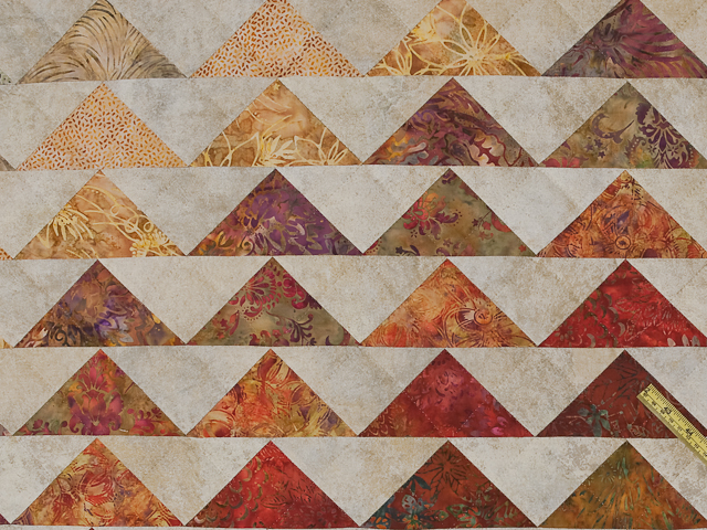 Hand Painted Rainbow Pyramid Quilt King Photo 6