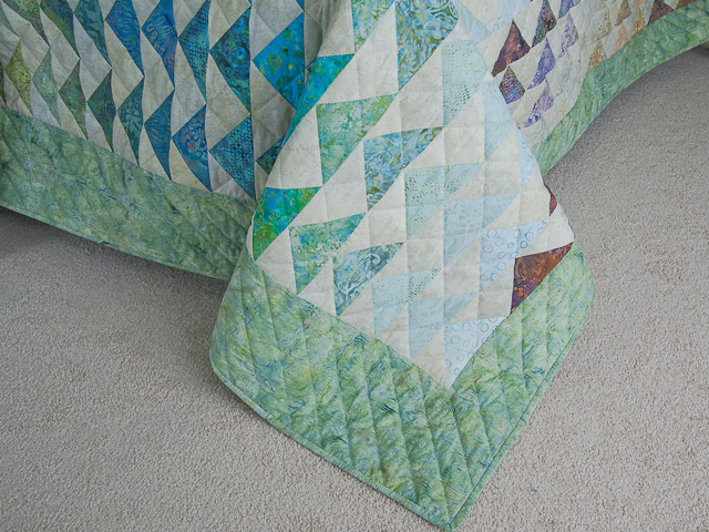 Hand Painted Rainbow Pyramid Quilt King Photo 7