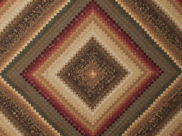 Brown, red, green, gold Postage Stamp Color Splash Queen Quilt Photo 3