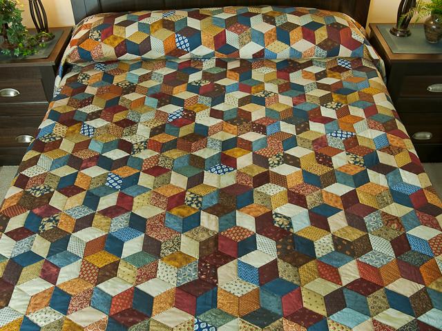 Blue, gold burg cream Multicolor Tumbling Blocks Quilt Queen Photo 1