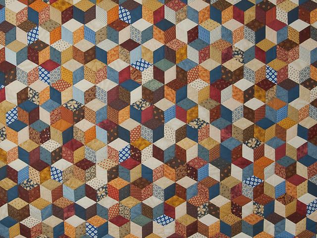 Blue, gold burg cream Multicolor Tumbling Blocks Quilt Queen Photo 3