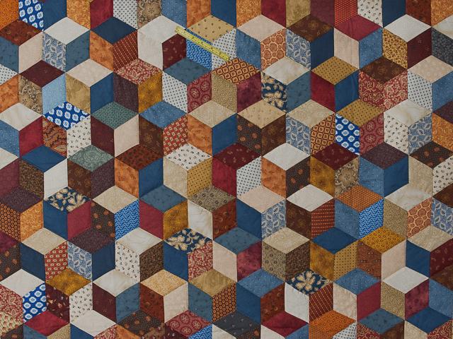 Blue, gold burg cream Multicolor Tumbling Blocks Quilt Queen Photo 4