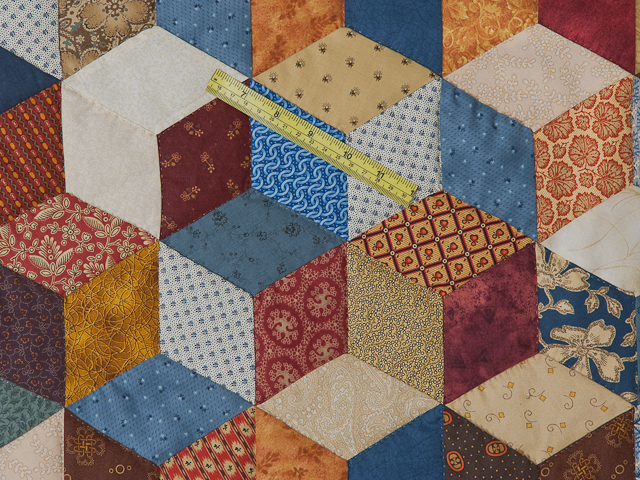 Blue, gold burg cream Multicolor Tumbling Blocks Quilt