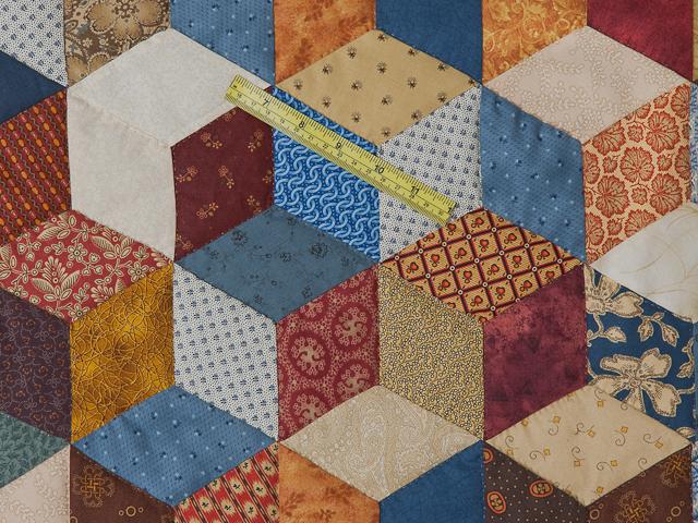 Blue, gold burg cream Multicolor Tumbling Blocks Quilt Queen Photo 5