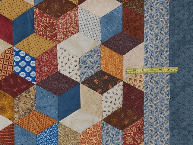 Blue, gold burg cream Multicolor Tumbling Blocks Quilt Queen Photo 6