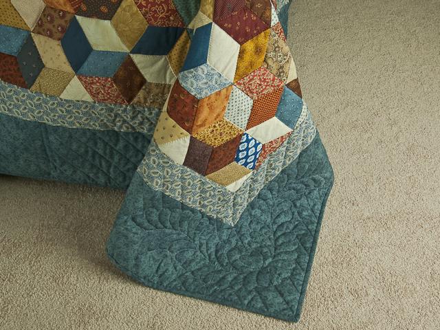 Blue, gold burg cream Multicolor Tumbling Blocks Quilt Queen Photo 7