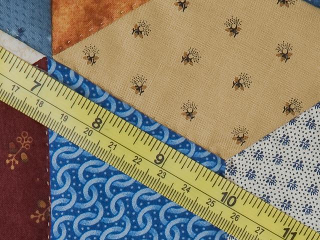 Blue, gold burg cream Multicolor Tumbling Blocks Quilt Queen Photo 8