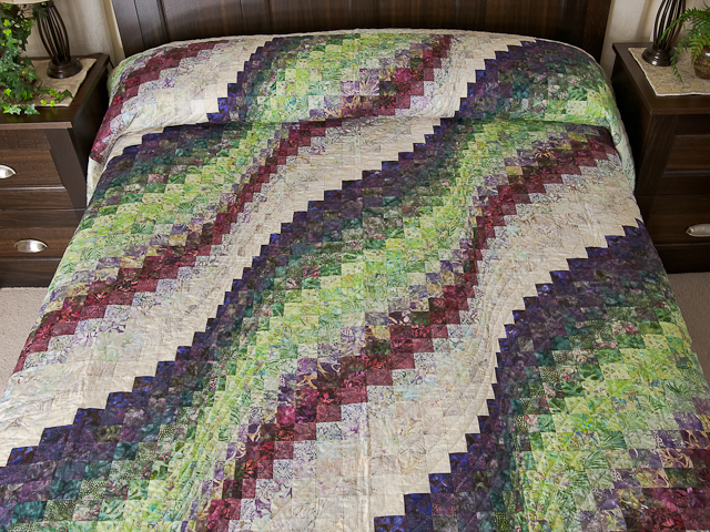 Bargello Wave in plum/raspberry/kiwi/cream Queen Quilt Photo 1