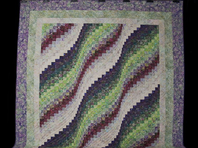 Bargello Wave in plum/raspberry/kiwi/cream Queen Quilt Photo 2