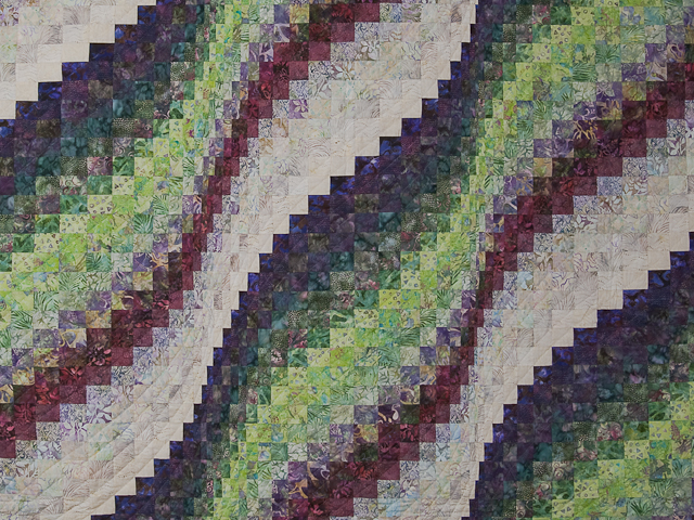 Bargello Wave in plum/raspberry/kiwi/cream Queen Quilt Photo 3