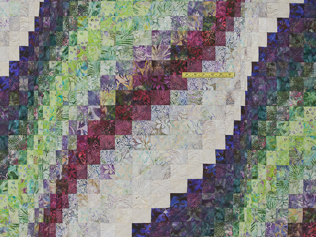 Bargello Wave in plum/raspberry/kiwi/cream Queen Quilt Photo 4