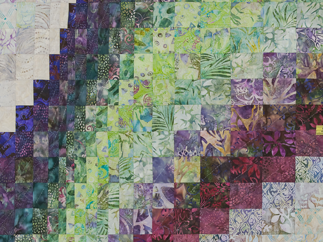Bargello Wave in plum/raspberry/kiwi/cream Queen Quilt Photo 5