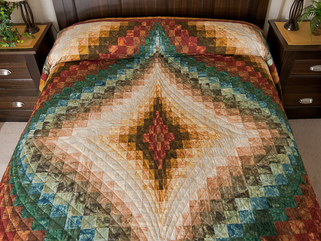 photo of Queen size Hand Painted Diamond Bargello Quilt