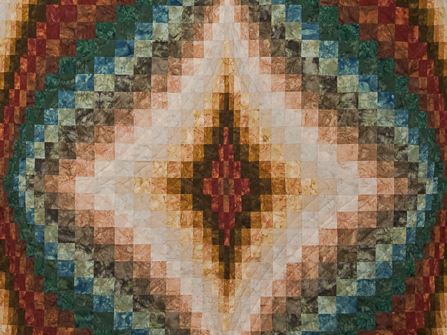 Queen size Hand Painted Diamond Bargello Quilt Photo 3