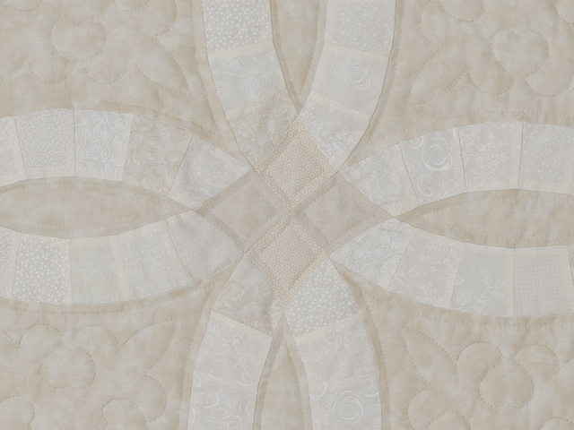King All Neutrals Double Wedding Ring Quilt Photo 5