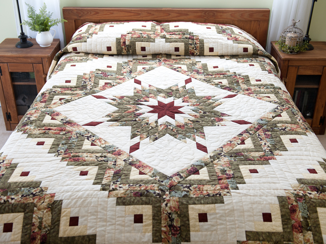 Moss Green and Deep Burgundy Lone Star Log Cabin Quilt Photo 1
