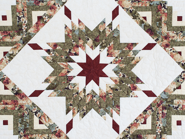 Moss Green and Deep Burgundy Lone Star Log Cabin Quilt Photo 3