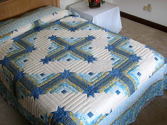 Blue and Yellow Colorado Log Cabin Quilt Photo 1