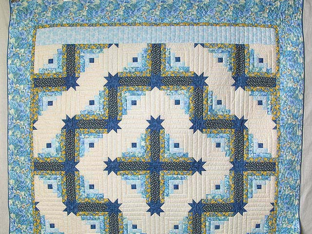Blue and Yellow Colorado Log Cabin Quilt Photo 2