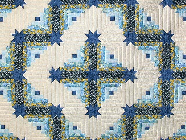 Blue and Yellow Colorado Log Cabin Quilt Photo 3