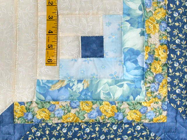 Blue And Yellow Colorado Log Cabin Quilt Photo 5