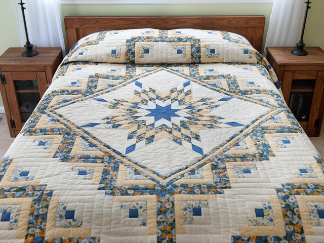 Blue and Yellow Gold Lone Star Log Cabin Quilt Photo 1