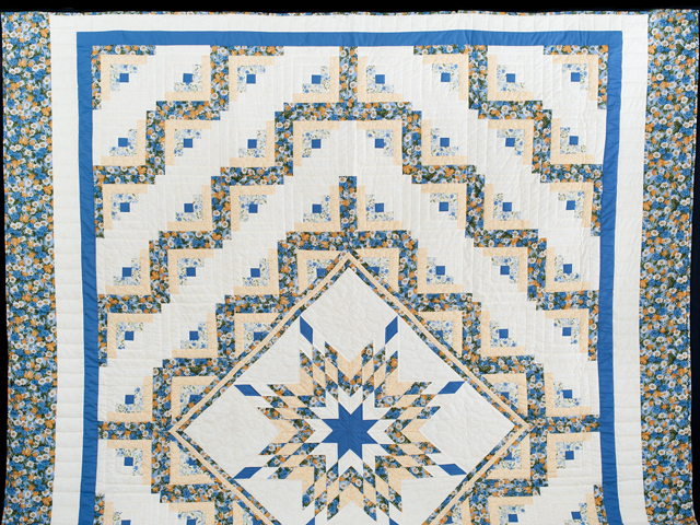 Blue and Yellow Gold Lone Star Log Cabin Quilt Photo 2