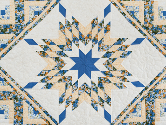 Blue and Yellow Gold Lone Star Log Cabin Quilt Photo 3