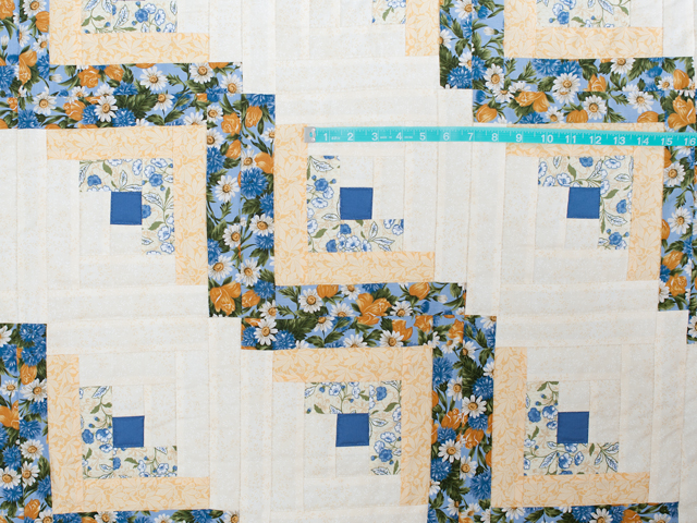 Blue and Yellow Gold Lone Star Log Cabin Quilt Photo 4