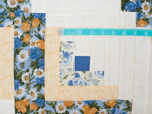 Blue and Yellow Gold Lone Star Log Cabin Quilt Photo 5