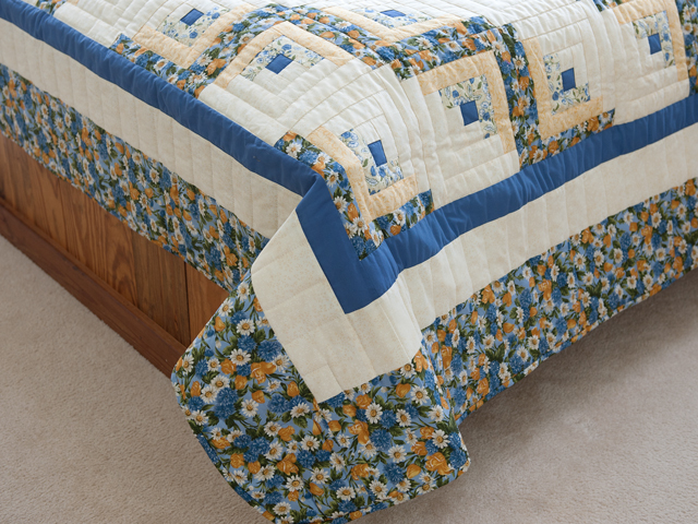 Blue and Yellow Gold Lone Star Log Cabin Quilt Photo 7