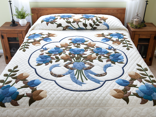 Blue and Coffee Brown Floral Bouquet Quilt Photo 1
