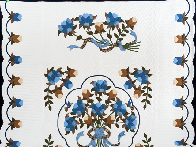 Blue and Coffee Brown Floral Bouquet Quilt Photo 2