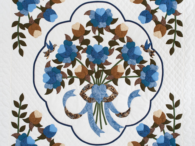 Blue and Coffee Brown Floral Bouquet Quilt Photo 3