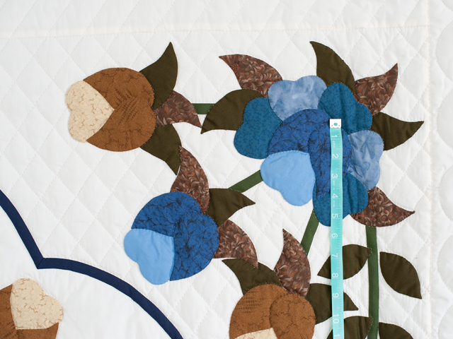 Blue and Coffee Brown Floral Bouquet Quilt Photo 4