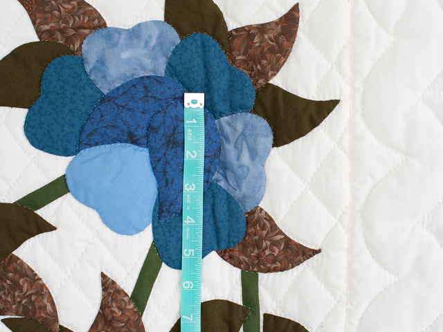 Blue and Coffee Brown Floral Bouquet Quilt Photo 5