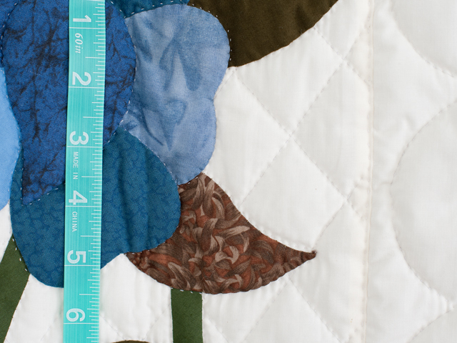 Blue and Coffee Brown Floral Bouquet Quilt Photo 6
