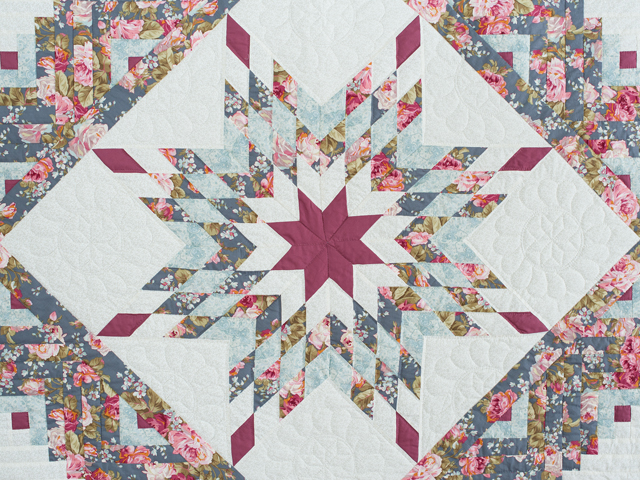 Slate Blue and Rose Lone Star Log Cabin Quilt Photo 3